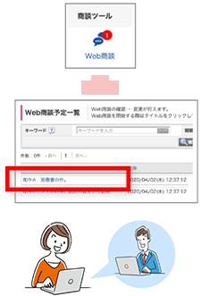 予約の時間になったら、商談メニュー「Web商談」から予約タイトルをクリックしWeb商談を開始する。